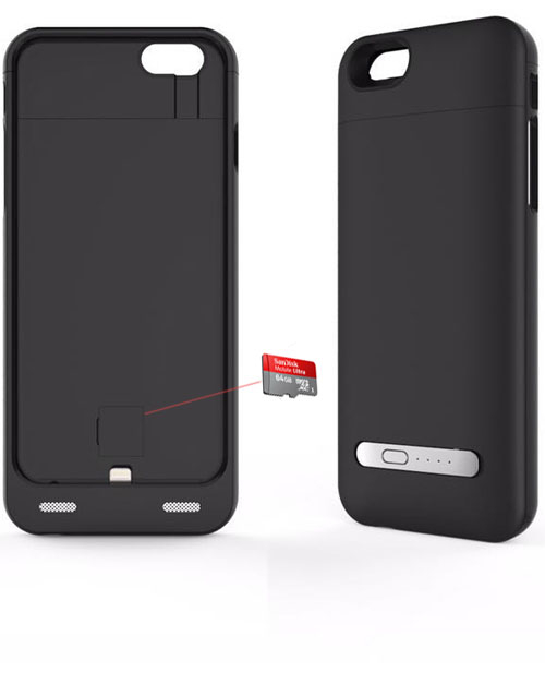iPhone 6 battery case with card reader black