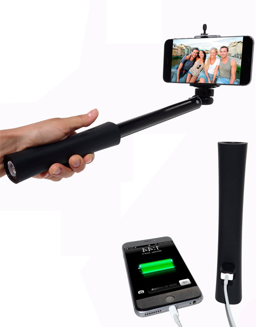 Selfie Stick monopod with portable power bank charger LED flashlight Bluetooth remote shutter firefly