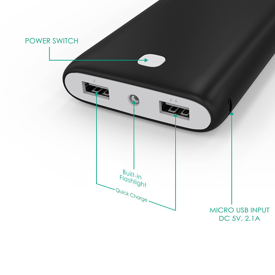 20000 mAh Dual-USB External Battery Charger Firefly PE-N15 Black 2