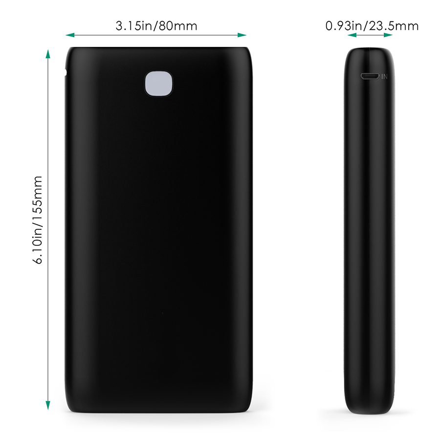 20000 mAh Dual-USB External Battery Charger Firefly PE-N15 Black 4