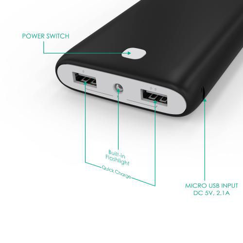 20000 mAh Dual-USB External Battery Charger Firefly PE-N15 Black 60 7