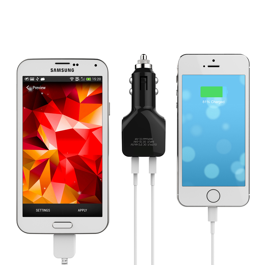 24W Dual Port USB Car Charger with quick charge Firefly black 8