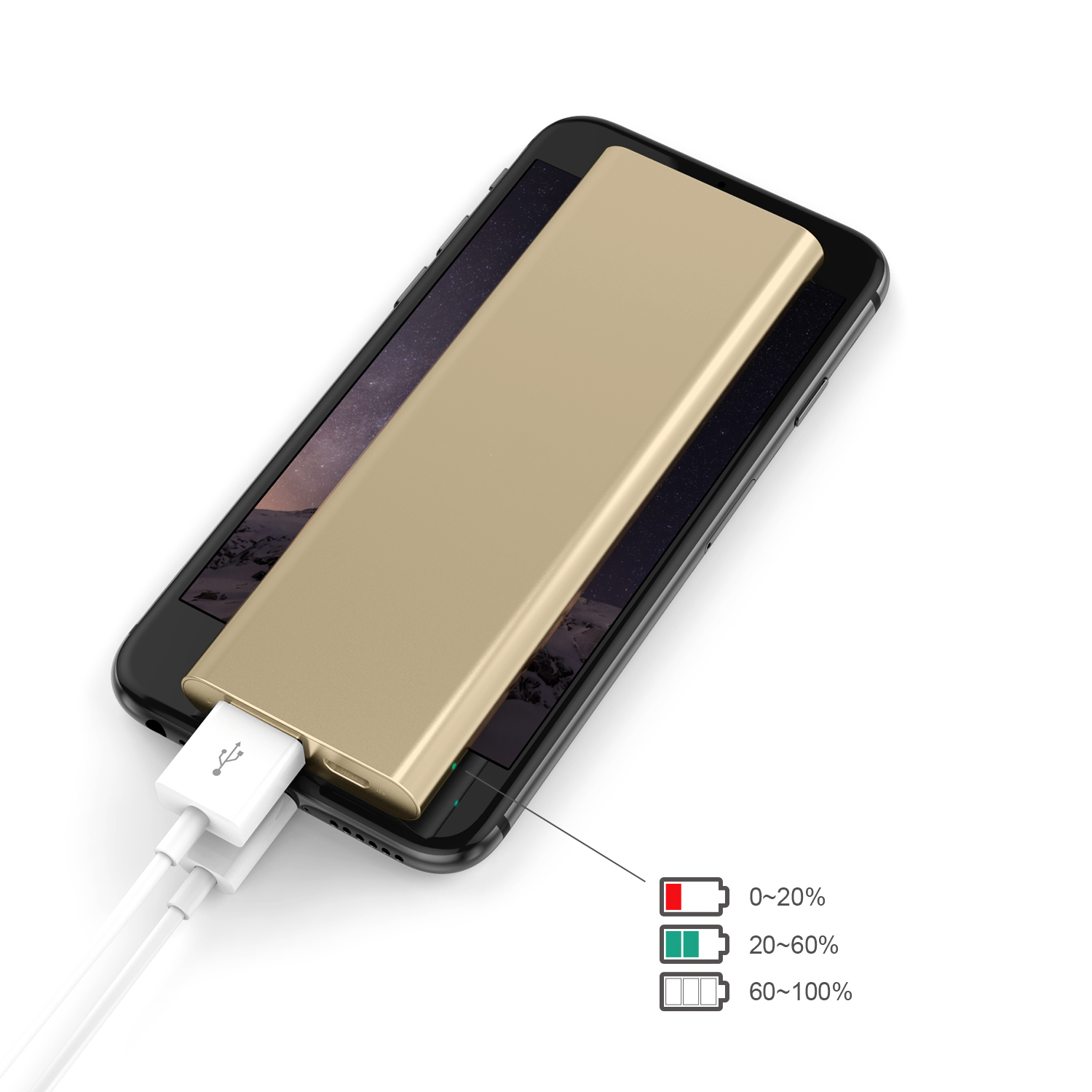 3300 mAh Portable External Battery Charger Power Bank Zinc Alloy Gold Firefly PE-A1B 2