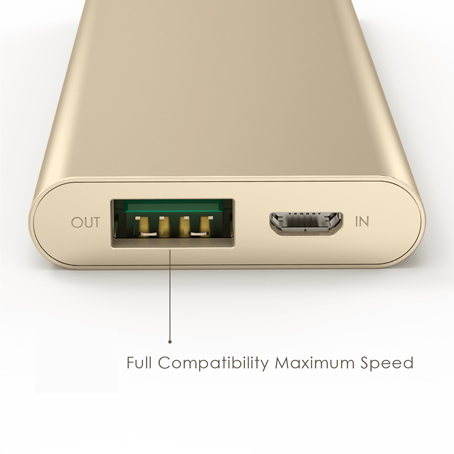 3300 mAh Portable External Battery Charger Power Bank Zinc Alloy Gold Firefly PE-A1B 3