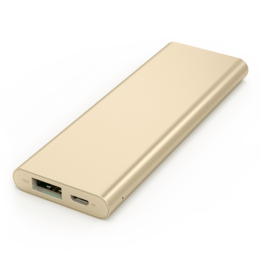 3300 mAh Portable External Battery Charger Power Bank Zinc Alloy Gold Firefly PE-A1B 4