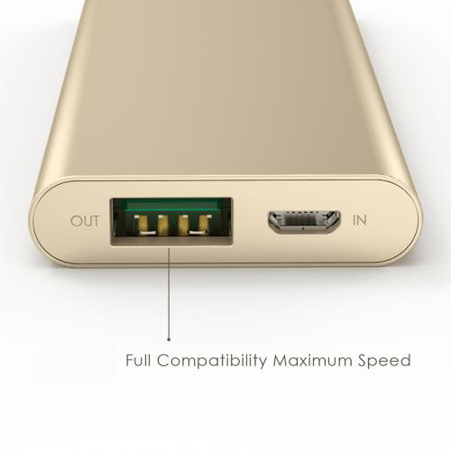 3300 mAh Portable External Battery Charger Power Bank Zinc Alloy Gold Firefly PE-A1B 8