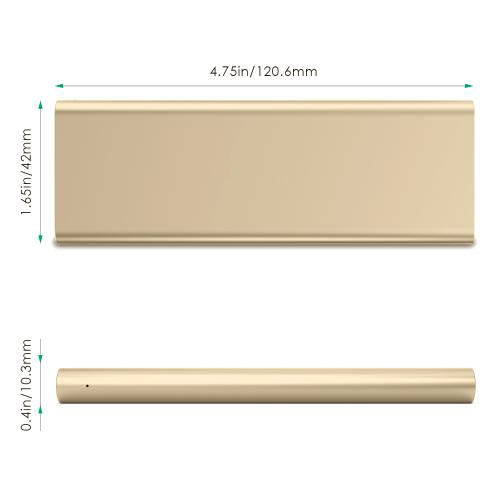3300 mAh Portable External Battery Charger Power Bank Zinc Alloy Gold Firefly PE-A1B 9