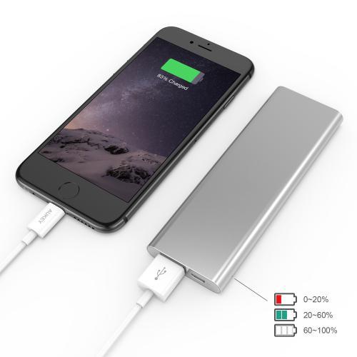 3300 mAh Portable External Battery Charger Power Bank Zinc Alloy Silver Firefly PE-A1B 5