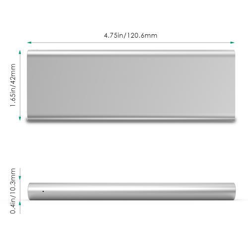 3300 mAh Portable External Battery Charger Power Bank Zinc Alloy Silver Firefly PE-A1B 7