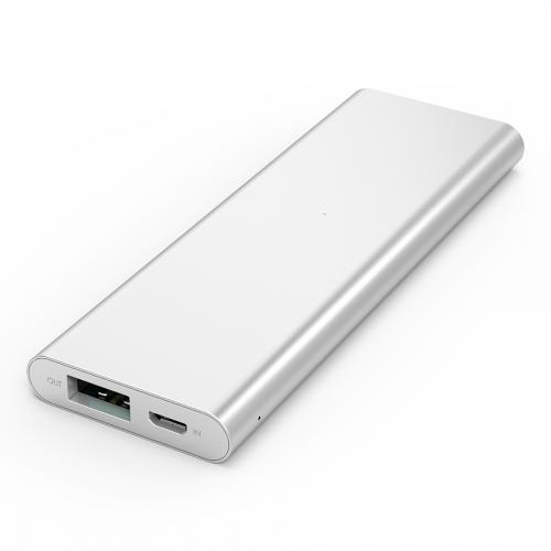 3300 mAh Portable External Battery Charger Power Bank Zinc Alloy Silver Firefly PE-A1B
