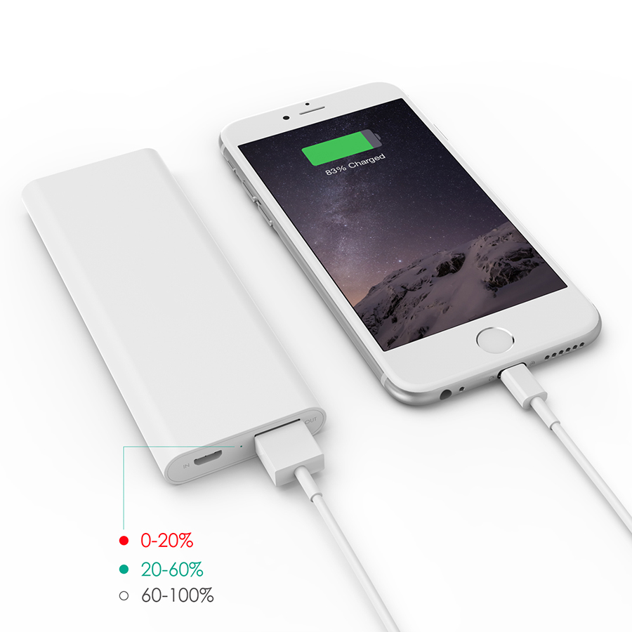 3600 mAh Slim Portable External Battery Pack White firefly PE-N26 3