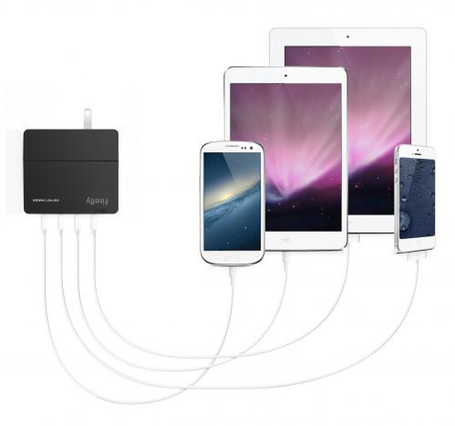 4 Port USB Wall Charger Black firefly DCW-4U 4