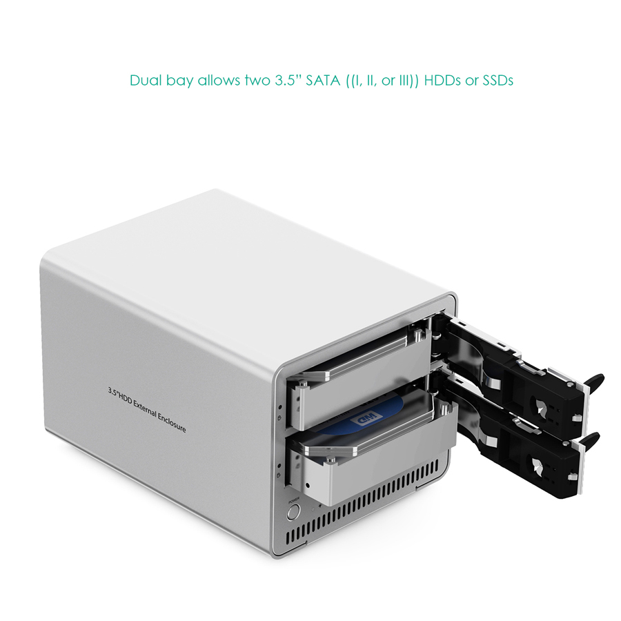 Aluminum Dual Bay USB 3.0 to 3.5 inch SATA HDD Enclosure firefly DS-B5 3