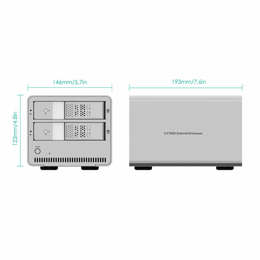 Aluminum Dual Bay USB 3.0 to 3.5 inch SATA HDD Enclosure firefly DS-B5 5