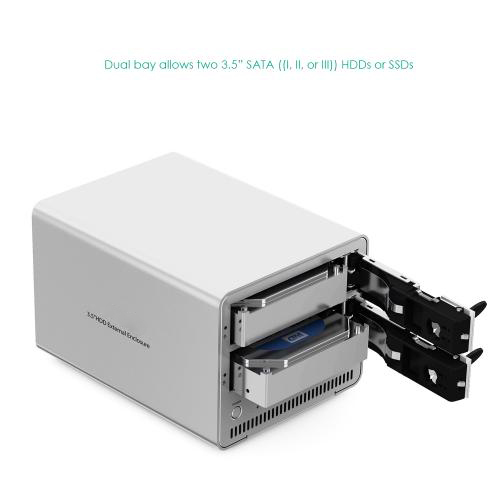 Aluminum Dual Bay USB 3.0 to 3.5 inch SATA HDD Enclosure firefly DS-B5 7