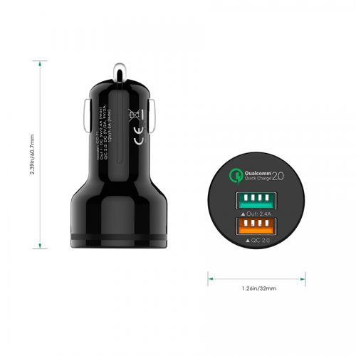 Qualcomm Quick Charge 2-Port USB Car Charger firefly CC-F1 10