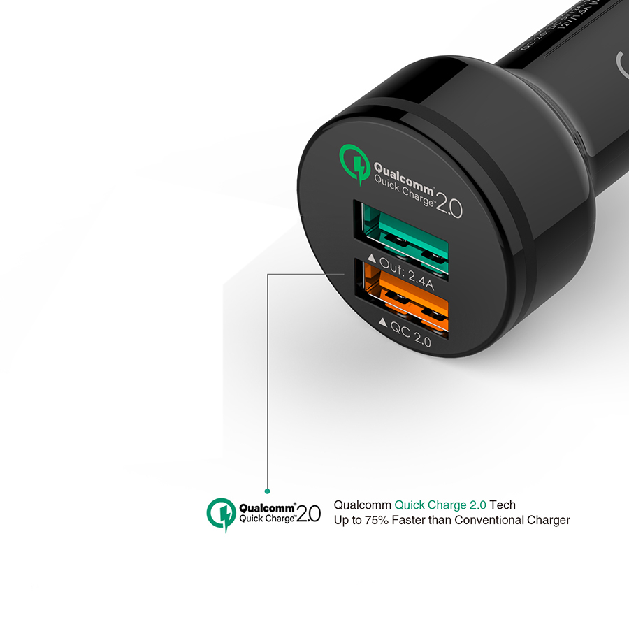 Qualcomm Quick Charge 2-Port USB Car Charger firefly CC-F1 6