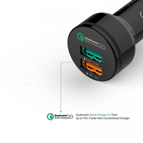 Qualcomm Quick Charge 2-Port USB Car Charger firefly CC-F1 7