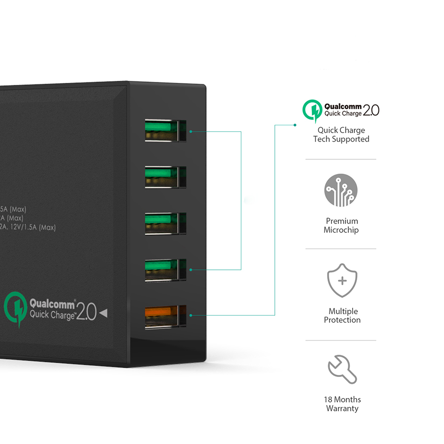 Qualcomm Quick Charge 54W 5 Port USB Wall Charger firefly DC-W2 3