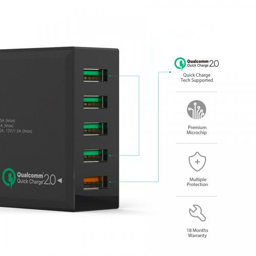 Qualcomm Quick Charge 54W 5 Port USB Wall Charger firefly DC-W2 4