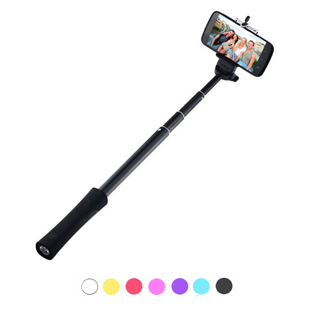 Selfie Stick monopod with portable power bank charger LED flashlight Bluetooth remote shutter