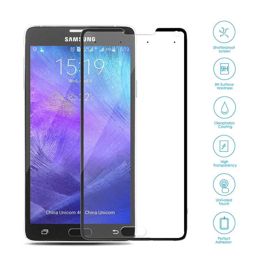 Smart Tempered-Glass Screen Protector for Samsung Note 4 Black Firefly SP-G21 3
