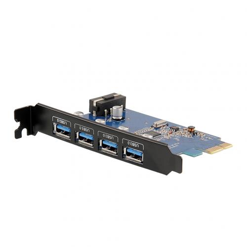 USB 3.0 PCI-E Express Card 4 USB 3.0 Ports 5V 4 Pin Power Connector Desktops DS-E1 12