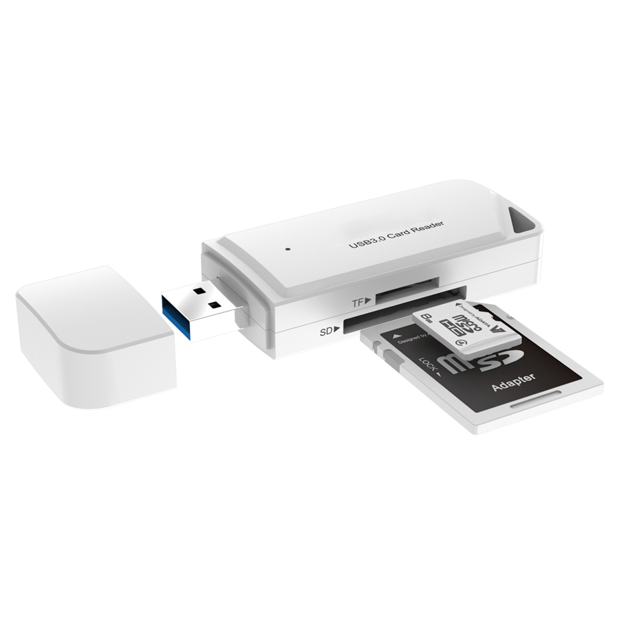 USB 3.0 TF SD Card Reader White Firefly 3