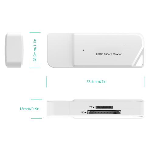 USB 3.0 TF SD Card Reader White Firefly 8