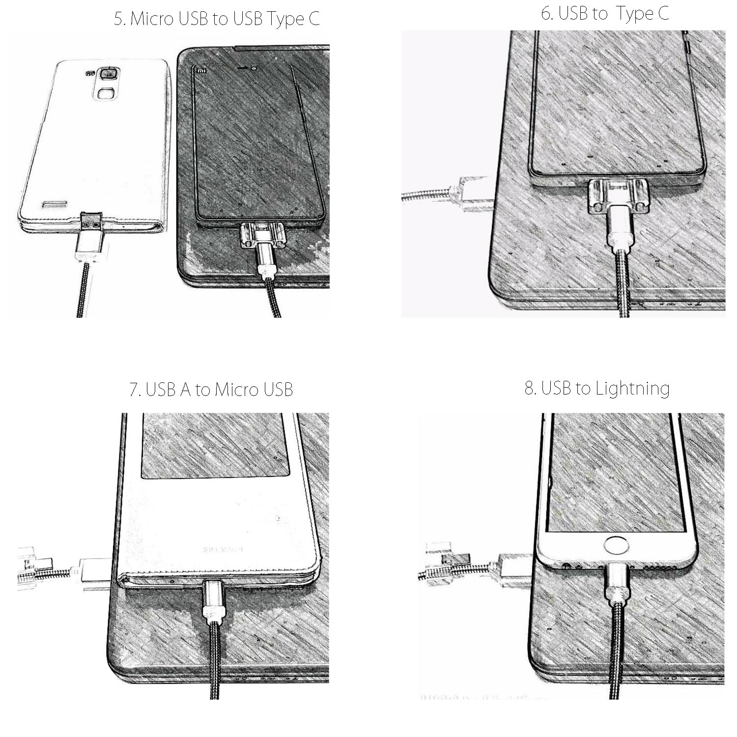 USB Type C Lightning Micro 8 in 1 Charging Cable 50cm Multiple Universal Charging Cable for iPhone iPad and Android Smartphone 14